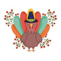 happy thanksgiving day, turkije met pelgrim hoed bessen fruit tak viering