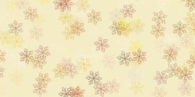 lichtoranje vector doodle textuur met bloemen.