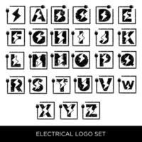 alfabet elektrische logo set az pictogrammen vector