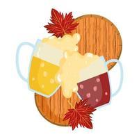 Oktoberfest-festival, twee glazen roosterende mokken met bier, traditionele Duitse viering