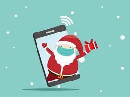 kerstman met geschenkdoos op mobiel vector
