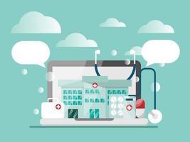 online gezondheidszorgconcept, kliniek voor consulent