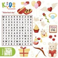 eenvoudig woord zoeken kruiswoordraadsel Valentijnsdag vector