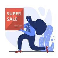 vlakke afbeelding van super verkoop
