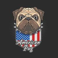 Amerikaanse pug schattige illustratie vectorafbeelding