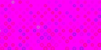 lichtblauwe, rode vectorachtergrond met mysteriesymbolen.