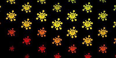 donkergroene, rode vectorachtergrond met virussymbolen.