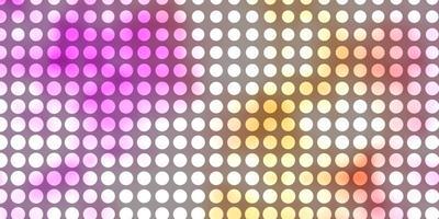 lichtroze, gele vectorachtergrond met cirkels.