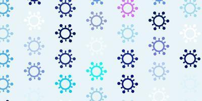 lichtroze, blauwe vectorachtergrond met virussymbolen