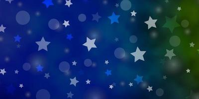 lichtblauwe, groene vectortextuur met cirkels, sterren.