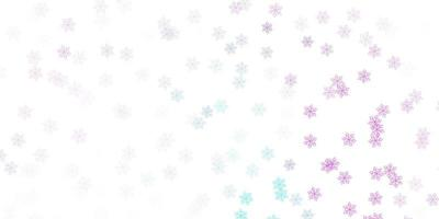 lichtroze, blauwe vectorkrabbelachtergrond met bloemen.