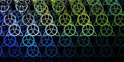 donkerblauw, geel vectorpatroon met magische elementen.