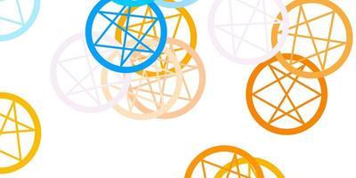 lichtblauw, geel vectormalplaatje met esoterische tekens. vector