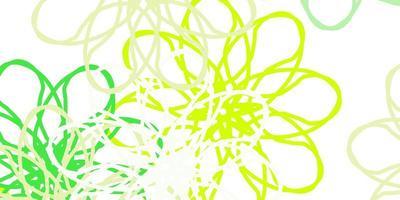 lichtgroen, geel vector natuurlijk kunstwerk met bloemen.