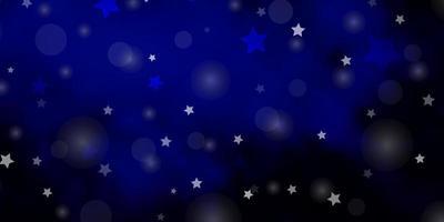 donkerblauwe vector achtergrond met cirkels, sterren.
