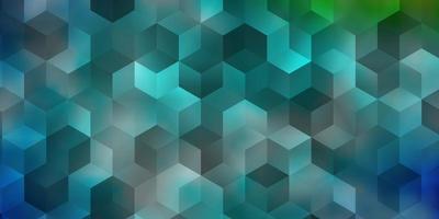 lichtblauw, groen vector sjabloon in zeshoekige stijl.