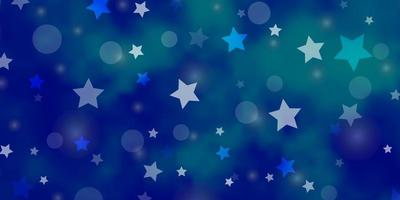 lichtblauw vectorpatroon met cirkels, sterren.