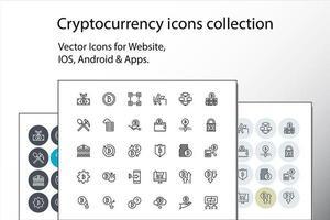 set van dunne lijn cryptocurrency-pictogrammen vector