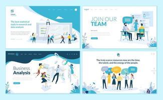 set webpagina-ontwerpsjablonen voor zakelijke app, gegevensanalyse, carrière, communicatie, teamwerk vector