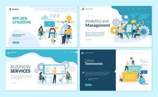 set ontwerpsjablonen voor webpagina's voor creatieve en innovatieve oplossingen, zakelijke services, beheer en analyse, getuigenissen