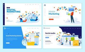 set ontwerpsjablonen voor webpagina's voor sociale media, online marketing en communicatie