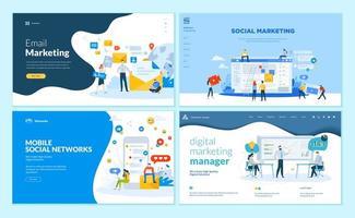 set ontwerpsjablonen voor webpagina's voor mobiel sociaal netwerk, internetmarketingoplossingen vector
