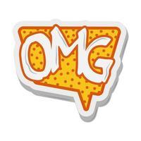 omg toespraak bubble komische sticker cartoon ontwerp vector