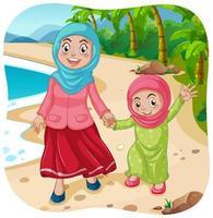 moslim moeder en dochter stripfiguur vector