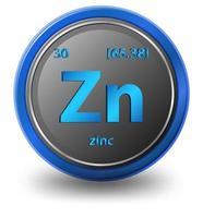 zink scheikundig element. chemisch symbool met atoomnummer en atoommassa.
