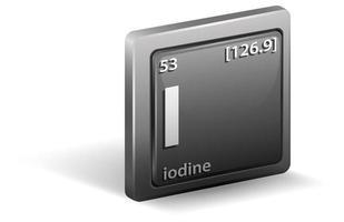 jodium scheikundig element. chemisch symbool met atoomnummer en atoommassa.
