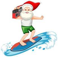 Kerstman surfen in zomer thema op witte achtergrond