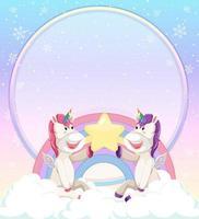 lege banner met schattige eenhoorns zittend op de wolk