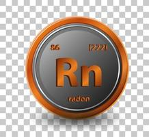 radon scheikundig element. chemisch symbool met atoomnummer en atoommassa.
