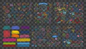 set van kleurrijke object en symbool hand getrokken doodles vector