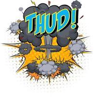 woord plof op komische wolk explosie achtergrond vector