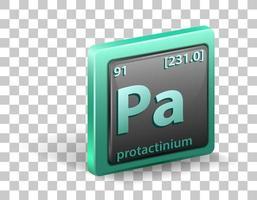 protactinium scheikundig element. chemisch symbool met atoomnummer en atoommassa.