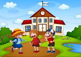 drie kinderen in natuurtafereel met schoolgebouw
