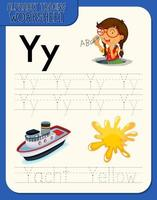 alfabet overtrekken werkblad met letter y en y vector