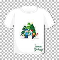 kinderen spelen met sneeuwpop in kerstthema op t-shirt op transparante achtergrond