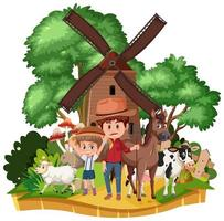 platteland windmolen huis geïsoleerd vector
