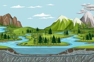 vogelperspectief met de landschapsscène van het natuurpark vector