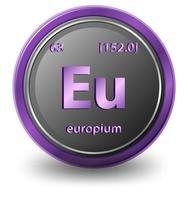 europium scheikundig element. chemisch symbool met atoomnummer en atoommassa. vector