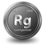 roentgenium scheikundig element. chemisch symbool met atoomnummer en atoommassa.