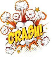 woordcrash op komische wolk explosie achtergrond vector