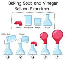 wetenschappelijk experiment met baking soda en azijnballon vector