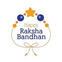 gelukkig raksha bandhan polsbandje met ballen en ster vlakke stijl vector
