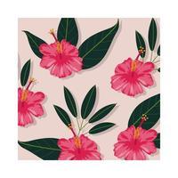 roze bloemen planten tropische patroon achtergrond vector