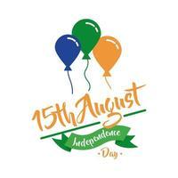 viering van de onafhankelijkheidsdag van india met ballonnen helium vlakke stijl vector