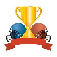 Amerikaanse voetbal sporthelmen met trofee beker vector
