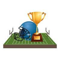 Amerikaanse voetbalhelm met trofee en veld vector